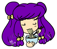 Shampoo eating noodles by kittyocean