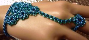 Teal Chainmaille Handflower by Divulged