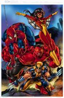 the avenging spidey and friends colored by gammaknight