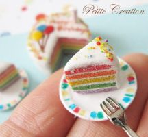 12th scale rainbow bday cake1 by PetiteCreation