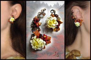 Ear cuff and stud Autumn in Kyoto by JSjewelry