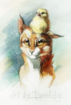 Cat with chicken :3 by Flame-of-inspiration