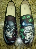 Batman and Joker Custom Canvas Shoes by Acrylicolt