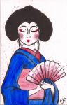 Handpainted Geisha Christmas Card by Nextrockangel