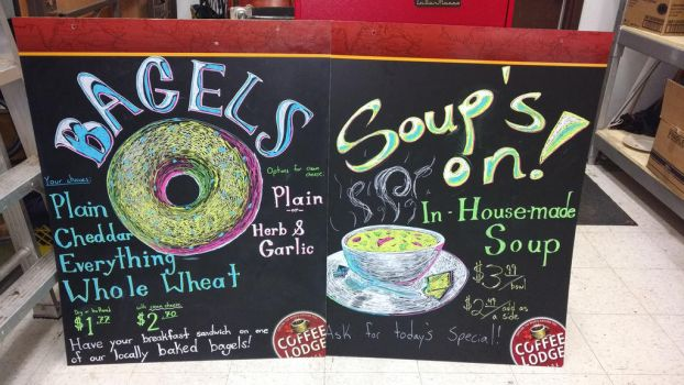 Coffee Lodge signs, bagels and soup by T-Ingles
