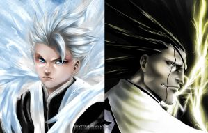 Kenpachi vs Toshiro : The Battle by Dexteria