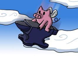 Flying Pig Riding an Anvil by zurtech