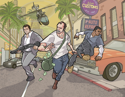 Grand Theft Auto V  in full-color by davidstonecipher