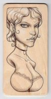 Girl drawn on wood by ChadTHX1138