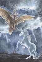 The Unicorn and the Harpy by Toradh