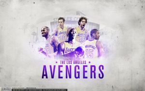 Los Angeles Lakers 2012 Avengers Wallpaper by Angelmaker666