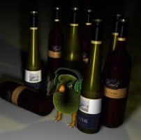 bird likes wine and cigs by cyberskull34