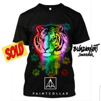 Tiger Neon Paint T-shirt - by BluedarkArt  by Bluedarkat