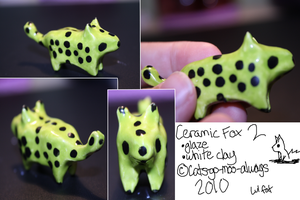 Green Clay Fox by Cats-go-moo-always