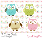Cute Owls Clipart set by SparklingTea