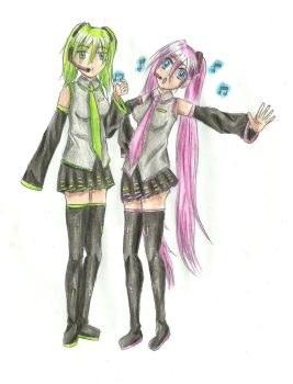 Honorine and Dana as Miku by Coco-of-the-Forest