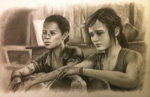 Ellie and Riley The Last of Us Left Behind by JohnStewartGallery