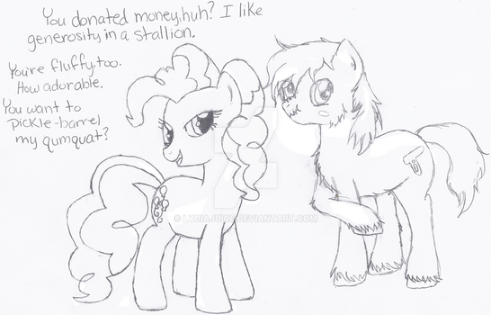Pinkie Pie 'Thanks' Shiny for His Donation by lydiajuice