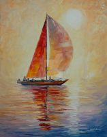 Red Sail by Leonid Afremov by Leonidafremov