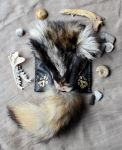 Tanuki and Leather Pouch by lupagreenwolf