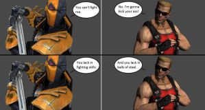 Injustice: Deathstroke vs Duke Nukem by xXTrettaXx