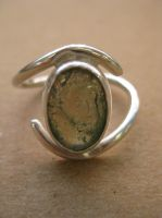 Moss agate bezel ring by ArtsyShan