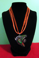 Orange Ribbon Fish Necklace by BloodRed-Orchid
