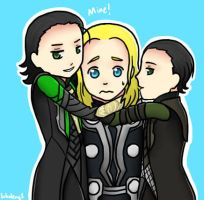 Thor and double Loki by kakaleng1