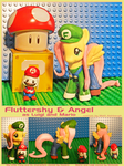 Fluttershy and Angel as Mario and Luigi by Bearded-Brony