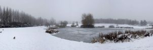Frozen pond panorama by captainflynn