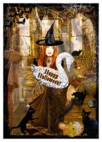 Witch Leonna's Halloween Card by nine9nine9