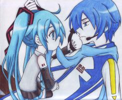 shibi Hatsune Miku and Kaito Shion ( colored ) by MinIllusi0ns