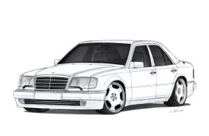 Mercedes-Benz 500E (W124) Drawing by Vertualissimo