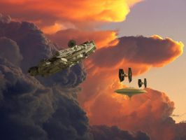 The Falcon escapes Cloud city by Balsavor