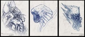 """The Kraken"" head sketches by JSMarantz"