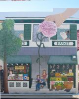 Hayward Streetscape: Market and Book store by SuzanneGayle