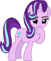 Starlight Glimmer (mischievous thinking vector) by davidsfire