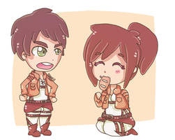 eren and sasha chibis by tsaaif