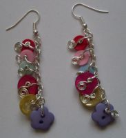 dangly button earrings by MadDani