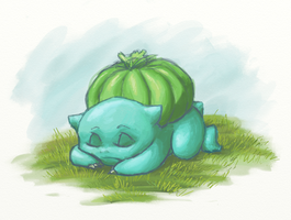Bulbasaur Sleeping by kittychasesquirrels