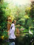 By the pond mixed media by designdiva3