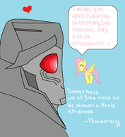 megatron and fluttershy by uniquecomicfreak2580