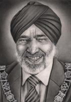 The Mayor of Barking 'Hardial Singh Rai' portrait by Pen-Tacular-Artist