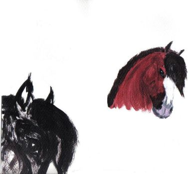 Horse paintings by werewolf-calling
