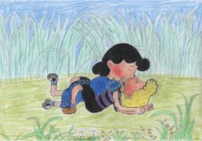 Smooching in a meadow by Schrucy