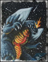 Space Godzilla painting by AlmightyRayzilla