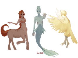 Mythological Creatures -Centaur, Mermaid and Harpy by ChocoHal