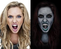 Angry woman to Vamp - before after by B-D-I