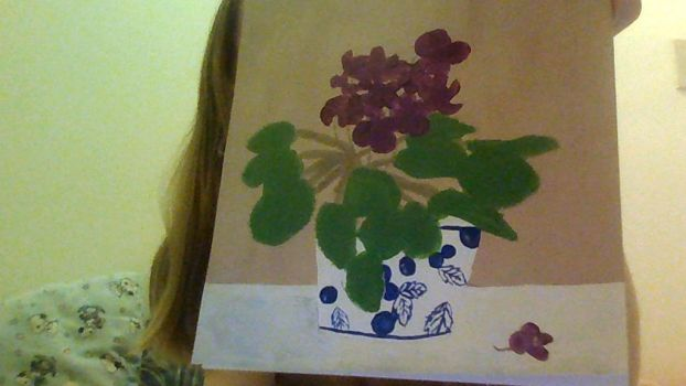 Unfinished painting of African violets by allixson