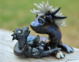 Space dragon with baby by DaniClayCreations